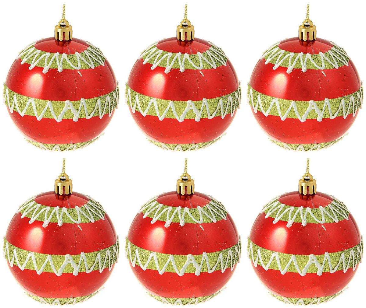 Набор новогодних подвесных украшений Sima-land Зигзаг, диаметр 8 см, 6 шт свеча ароматизированная sima land лимон на подставке высота 6 см