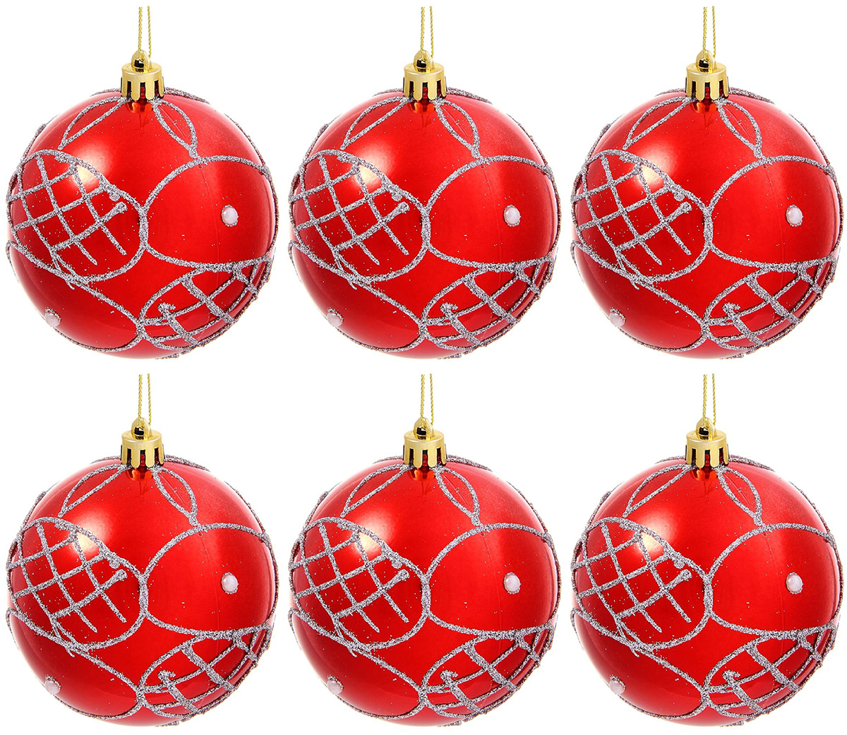 Набор новогодних подвесных украшений Sima-land Мираж. Жемчужная сетка, диаметр 8 см, 6 шт кармашки на стену sima land люблю школу цвет красный желтый коричневый 5 шт
