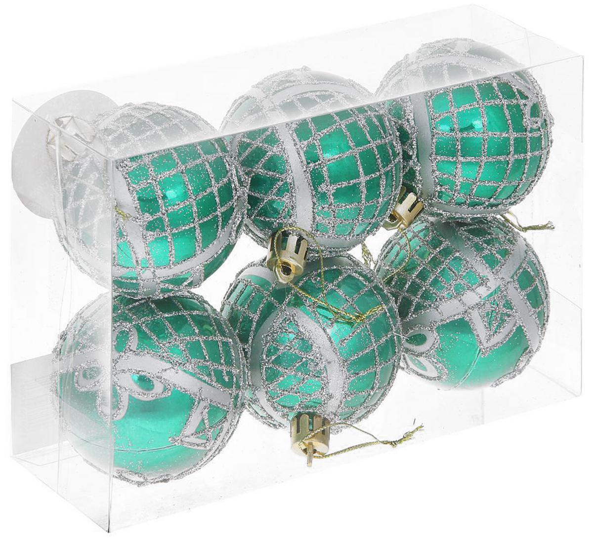 Набор новогодних подвесных украшений Sima-land Мираж. Цветочный узор, диаметр 6 см, 6 шт набор новогодних подвесных украшений sima land диаметр 10 см 6 шт 2137195