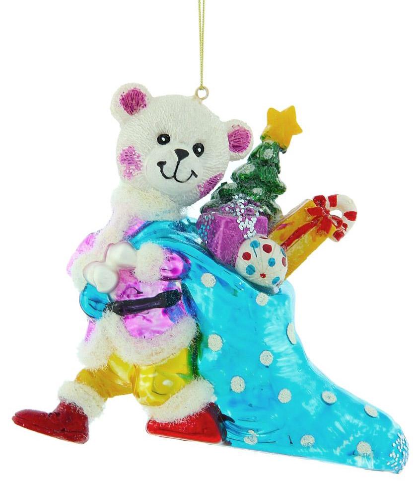 Новогоднее подвесное украшение Sima-land Мишка с подарками, 11,3 х 12,5 х 3,6 см188146Новогоднее украшение Sima-land отлично подойдет для декорации вашего дома и новогодней ели. Елочная игрушка - символ Нового года. Она несет в себе волшебство и красоту праздника. Такое украшение создаст в вашем доме атмосферу праздника, веселья и радости.