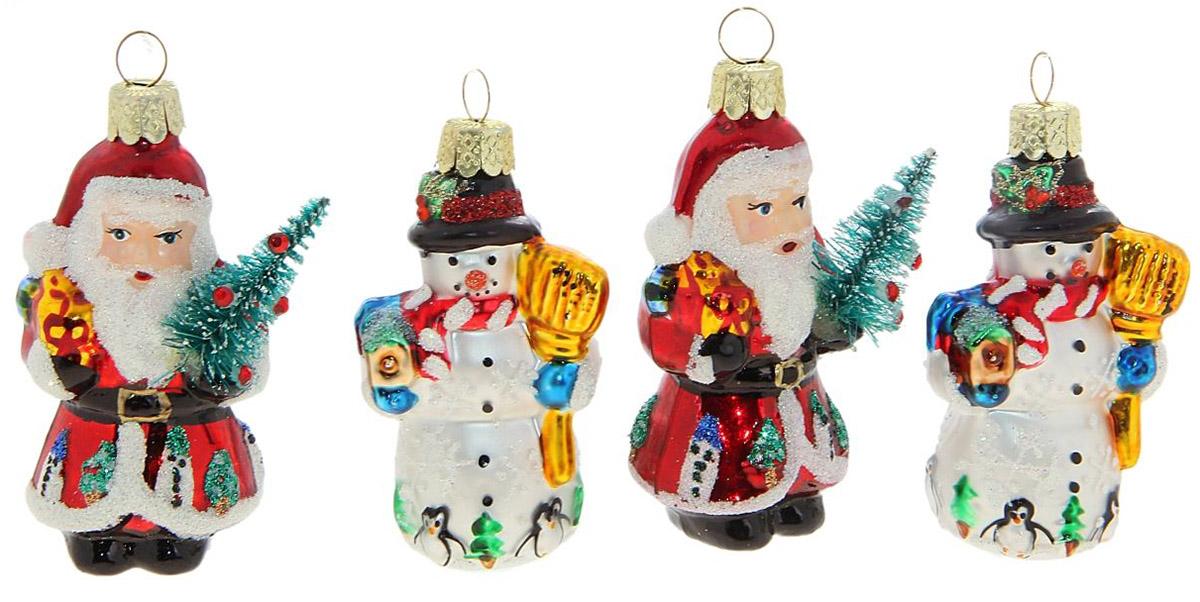 Новогоднее подвесное украшение Sima-land Дед Мороз и снеговик, 7 х 3,5 см188170Новогоднее украшение Sima-land отлично подойдет для декорации вашего дома и новогодней ели. Елочная игрушка - символ Нового года. Она несет в себе волшебство и красоту праздника. Такое украшение создаст в вашем доме атмосферу праздника, веселья и радости.