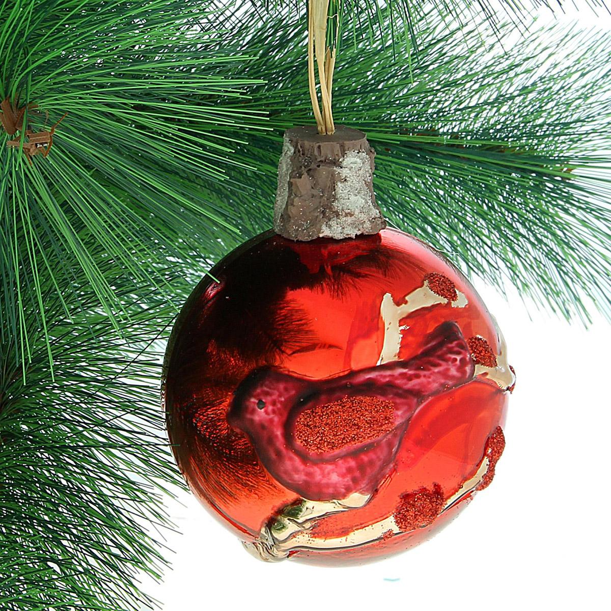 Новогоднее подвесное украшение Sima-land Птичка, диаметр 8 см334232Новогоднее украшение Sima-land отлично подойдет для декорации вашего дома и новогодней ели. Елочная игрушка - символ Нового года. Она несет в себе волшебство и красоту праздника. Такое украшение создаст в вашем доме атмосферу праздника, веселья и радости.
