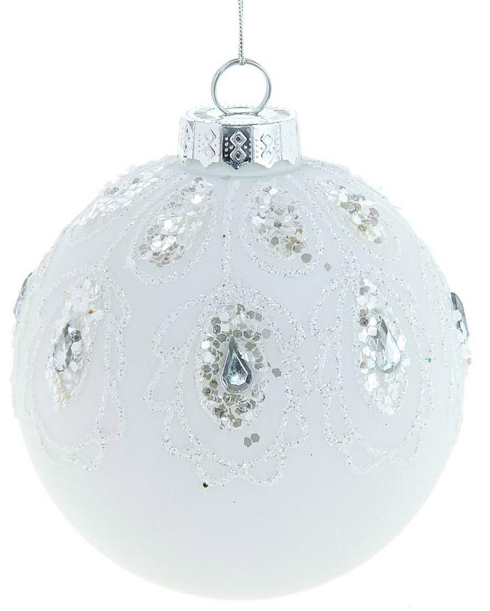 Новогоднее подвесное украшение Sima-land Белый узор, диаметр 10 см334274Новогоднее украшение Sima-land отлично подойдет для декорации вашего дома и новогодней ели. Елочная игрушка - символ Нового года. Она несет в себе волшебство и красоту праздника. Такое украшение создаст в вашем доме атмосферу праздника, веселья и радости.