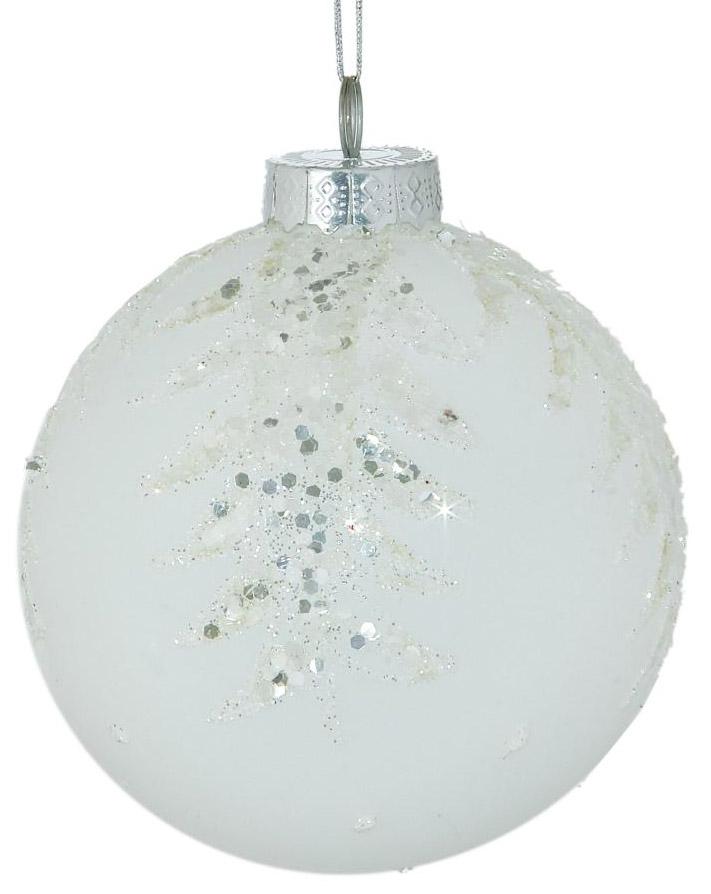 Новогоднее подвесное украшение Sima-land Белая еловая ветка, диаметр 10 см новогоднее подвесное украшение собака ф21 1716