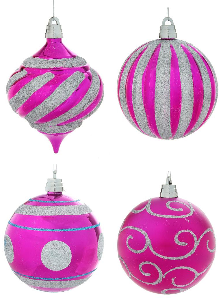 """Набор новогодних подвесных украшений Sima-land """"Гиганты"""", цвет: розовый, диаметр 15 см, 4 шт"""