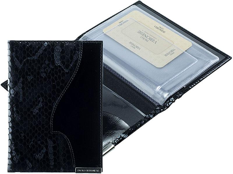 Обложка для автодокументов женская Paolo Veronese Круиз, цвет: черный. PV-NK047-BV0006-000PV-NK047-BV0006-000Бумажник водителя Paolo Veronese стандартного размера, из натуральной кожи. Внутри открытый карман и полукарман из пластика, а также пластиковый блок (6 карманов). Размеры (XxYxZ): 98х138х10