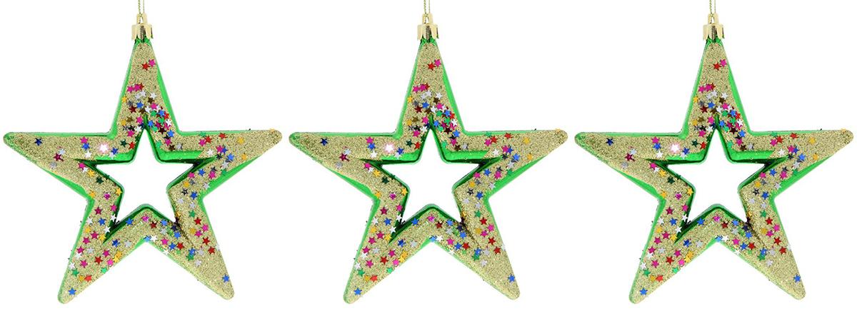 Набор новогодних подвесных украшений Sima-land Звезды, 13 см, 3 шт. 724173 кармашки на стену для бани sima land банные мелочи цвет белый 3 шт