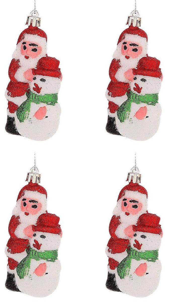 Набор новогодних подвесных украшений Sima-land Дед мороз и снеговик, 10 см, 4 шт725759Набор новогодних подвесных украшений Sima-land отлично подойдет для декорации вашего дома и новогодней ели. Новогодние украшения можно повесить в любом понравившемся вам месте. Но, конечно, удачнее всего они будет смотреться на праздничной елке.Елочная игрушка - символ Нового года. Она несет в себе волшебство и красоту праздника. Такое украшение создаст в вашем доме атмосферу праздника, веселья и радости.