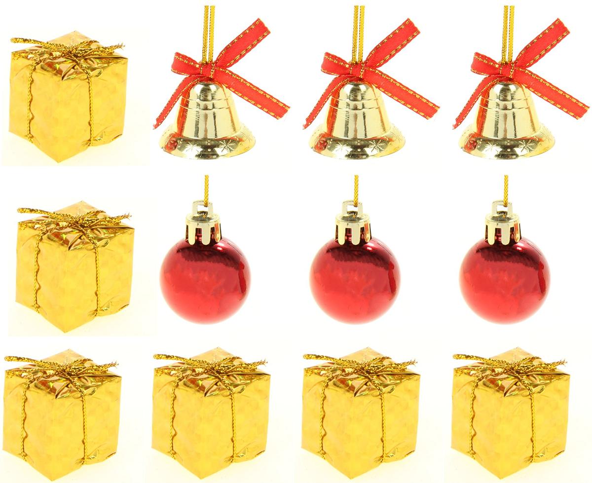 Набор новогодних подвесных украшений Sima-land 6 подарков, 3 шарика, 3 колокола, диаметр 2,5 см, 12 шт набор пасхальных подвесок sima land зайчик в скорлупе 6 см 3 шт