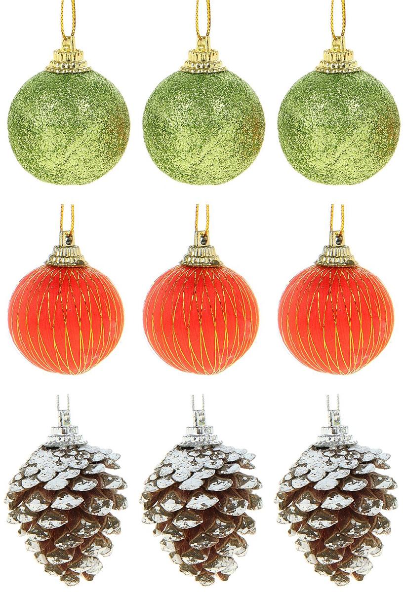 Набор новогодних подвесных украшений Sima-land 6 шариков, 3 шишки, диаметр 2,5 см, 9 шт набор пасхальных подвесок sima land зайчик в скорлупе 6 см 3 шт