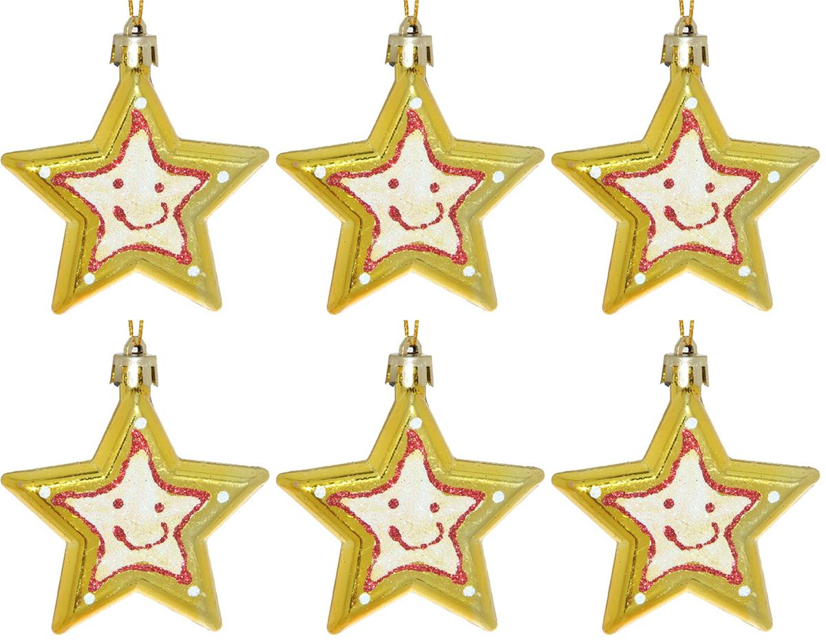 Набор новогодних подвесных украшений Sima-land Звездочки. Улыбка, 6,5 см, 6 шт набор новогодних подвесных украшений sima land диаметр 10 см 6 шт 2137195