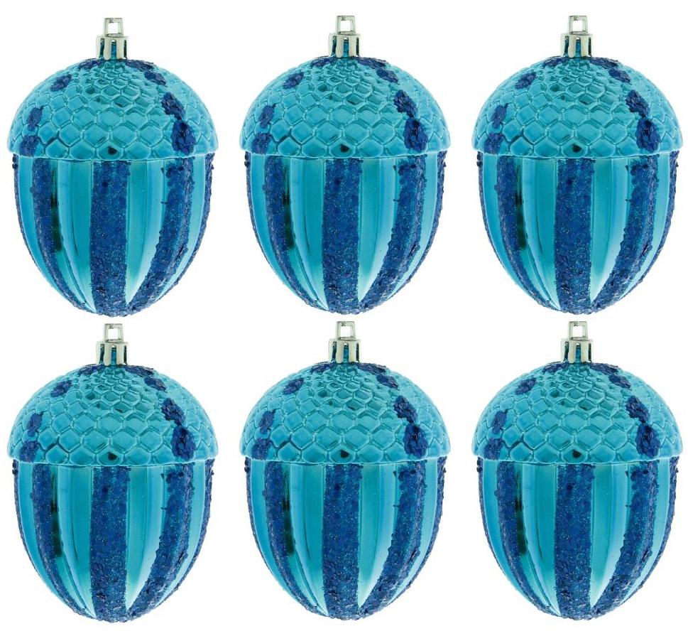 Набор новогодних подвесных украшений Sima-land Желудь, 7 см, 6 шт свеча ароматизированная sima land лимон на подставке высота 6 см
