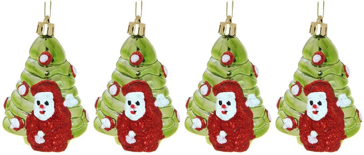 Набор новогодних подвесных украшений Sima-land Елочка с Дедом морозом, высота 10,8 см, 4 шт свеча ароматизированная sima land лимон на подставке высота 6 см