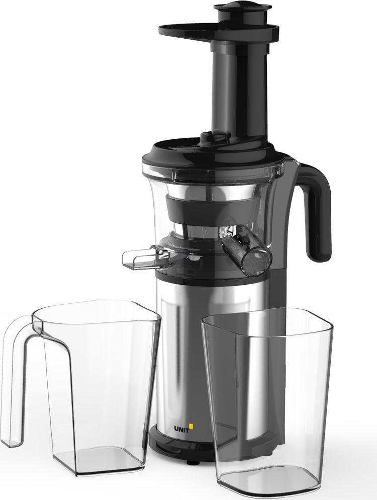Unit UCJ-421, Black Silver cоковыжималка501886Шнековый механизм соковыжималки Unit UCJ-421 выполнен из высокопрочного материала , выдерживающего большие нагрузки при отжиме сока. Данный механизм позволяет выжимать максимально возможное количество сока из различных фруктов и овощей. Благодаря низкой скорости сок во время отжима не нагревается и не окисляется , что позволяет сохранить максимальное количество витаминов , аминокислот и минералов.Соковыжималка легко собирается и просто моется после работы. Уровень шума не превышает 70 дБ по сравнению с традиционными центробежными соковыжималками с уровнем шума в 80-950 дБ.