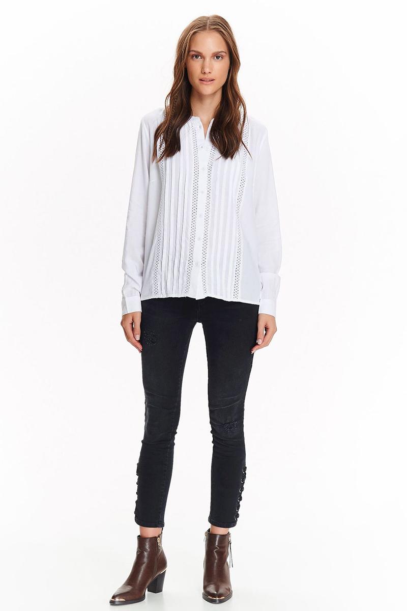 Рубашка женская Top Secret, цвет: белый. SKL2438BI. Размер 34 (48)SKL2438BIСтильная рубашка от Top Secret выполнена из натуральной вискозы. Модель с длинными рукавами и круглым воротником застегивается на пуговицы.