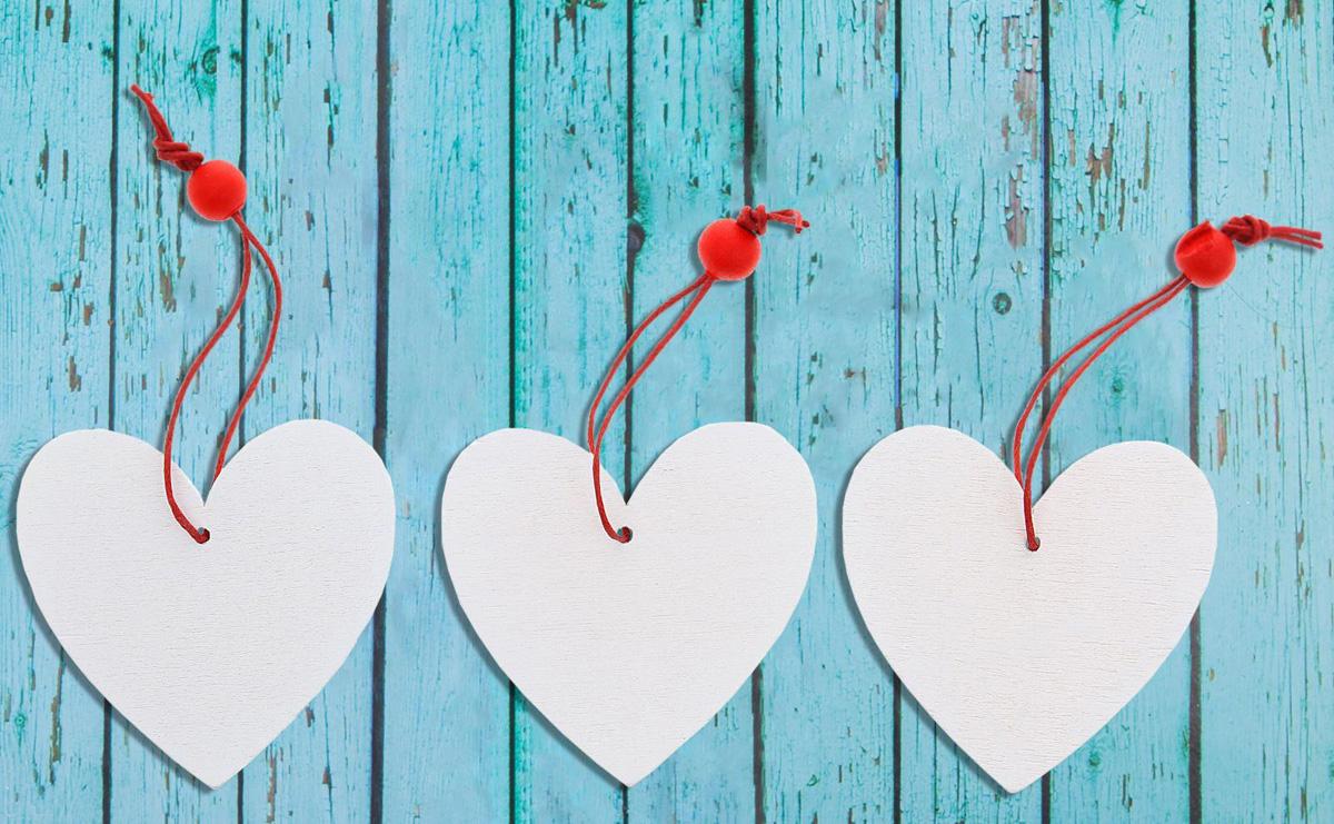 Новогоднее подвесное украшение Sima-land Сердце, 6 х 6 см, 3 шт новогоднее подвесное украшение sima land удачи в новом году светящееся 6 3 см