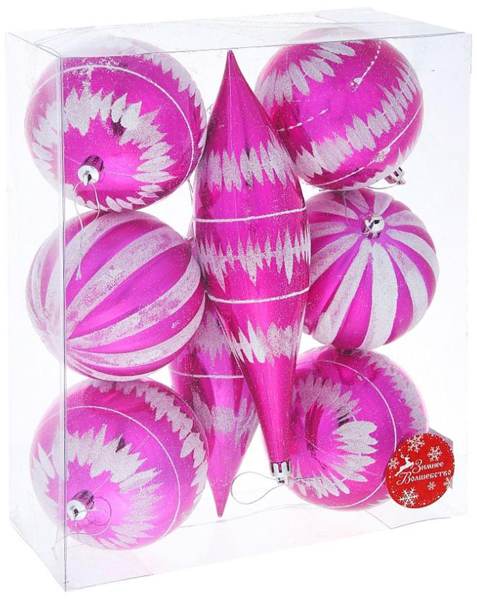 Набор новогодних подвесных украшений Sima-land Гигант с сосулькой, диаметр 10 см, 8 шт набор новогодних подвесных украшений sima land маскарад диаметр 10 см 4 шт