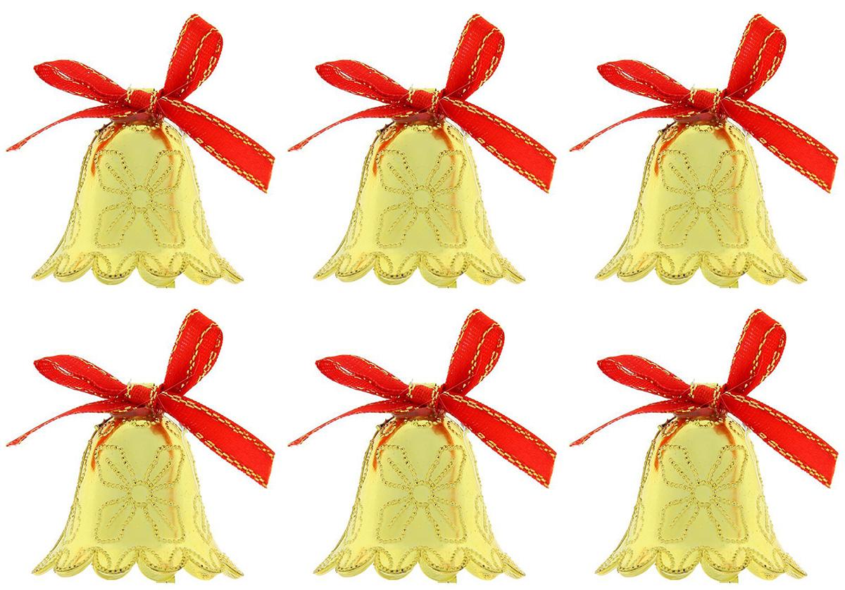 Новогоднее подвесное украшение Sima-land Колокольчики. Волна, 3,5 см, 6 шт1113629Новогоднее украшение Sima-land отлично подойдет для декорации вашего дома и новогодней ели. Елочная игрушка - символ Нового года. Она несет в себе волшебство и красоту праздника. Такое украшение создаст в вашем доме атмосферу праздника, веселья и радости.