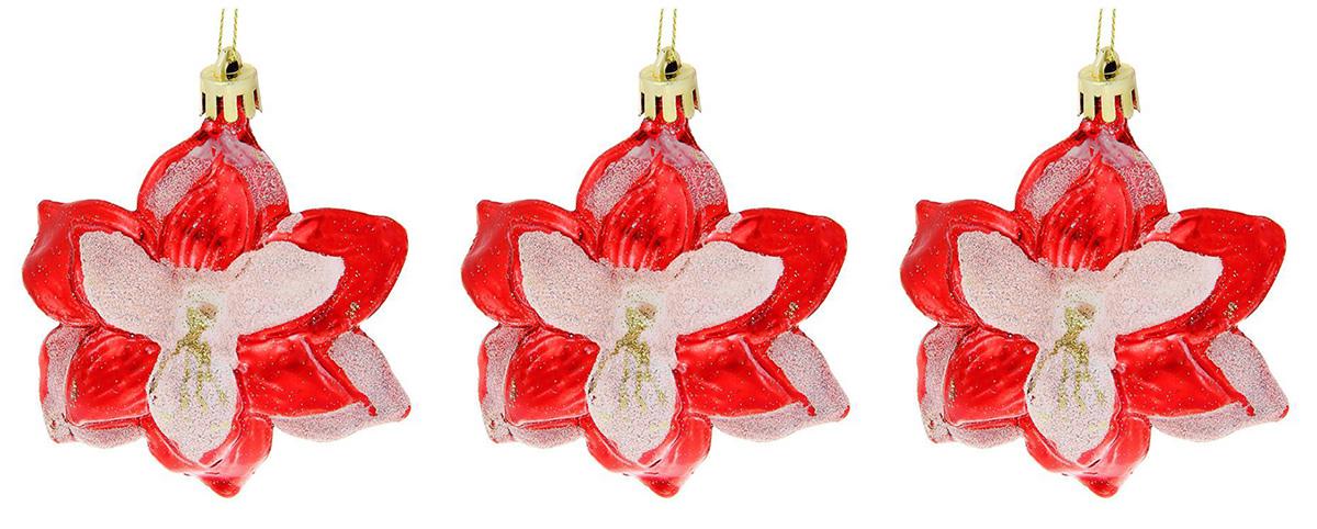 Новогоднее подвесное украшение Sima-land Красно-белые цветы, 8 см, 3 шт кармашки на стену для бани sima land банные мелочи цвет белый 3 шт