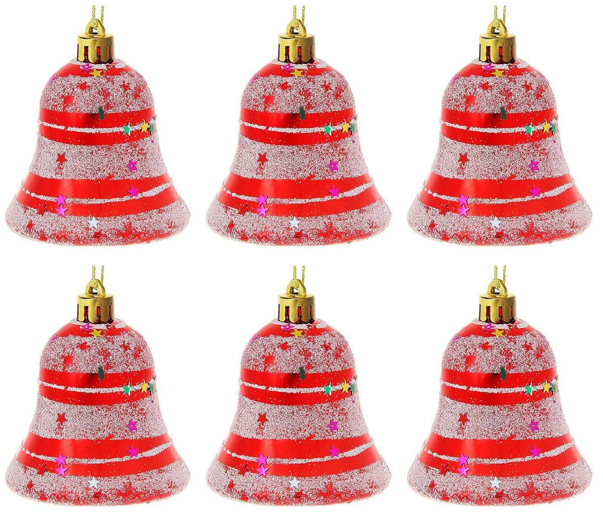 Новогоднее подвесное украшение Sima-land Колокольчик. Полоски со звездами, 5,5 см, 6 шт1116491Новогоднее украшение Sima-land отлично подойдет для декорации вашего дома и новогодней ели. Елочная игрушка - символ Нового года. Она несет в себе волшебство и красоту праздника. Такое украшение создаст в вашем доме атмосферу праздника, веселья и радости.