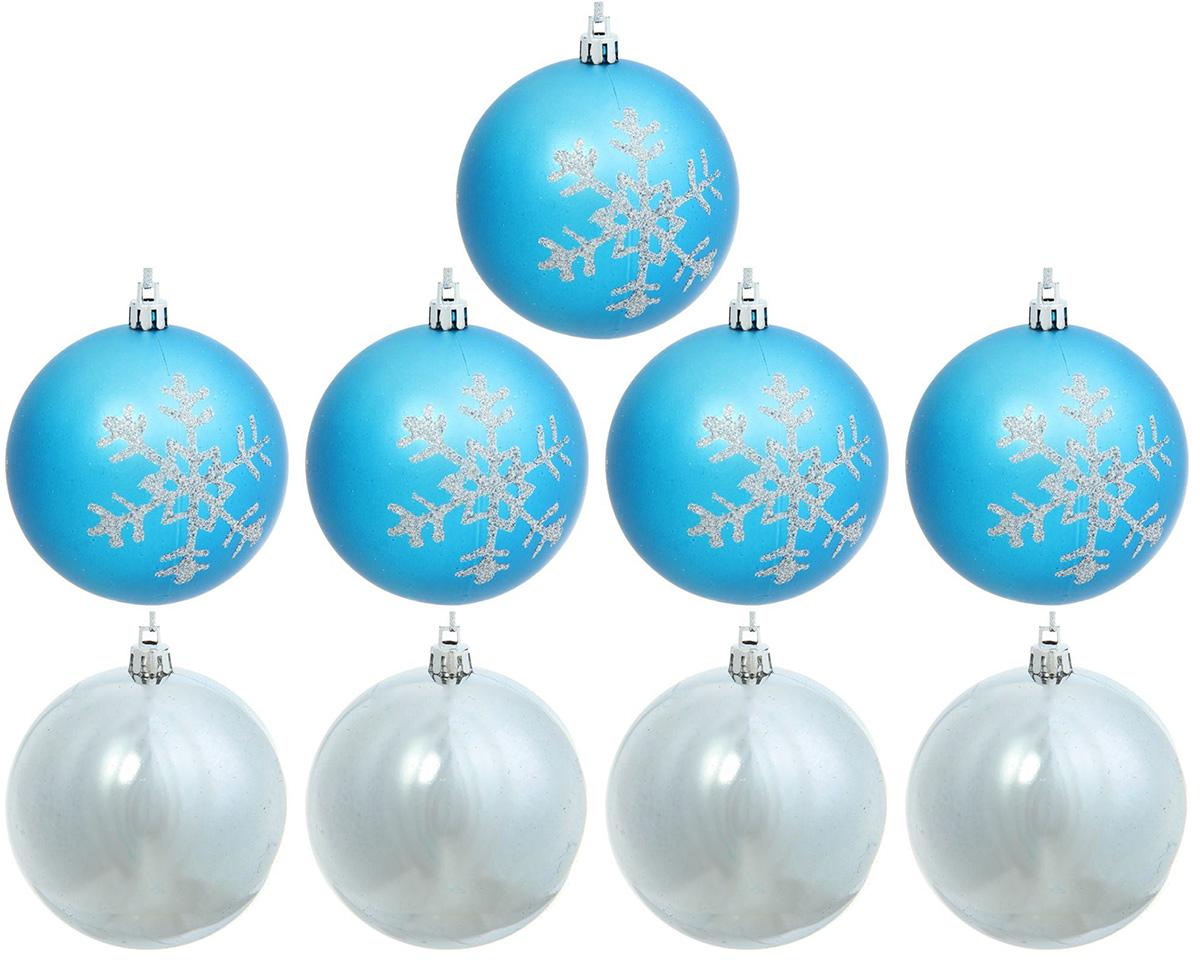 Набор новогодних подвесных украшений Sima-land Снежинка, диаметр 8 см, 9 шт набор новогодних подвесных украшений sima land рельефный цветок диаметр 8 см 4 шт