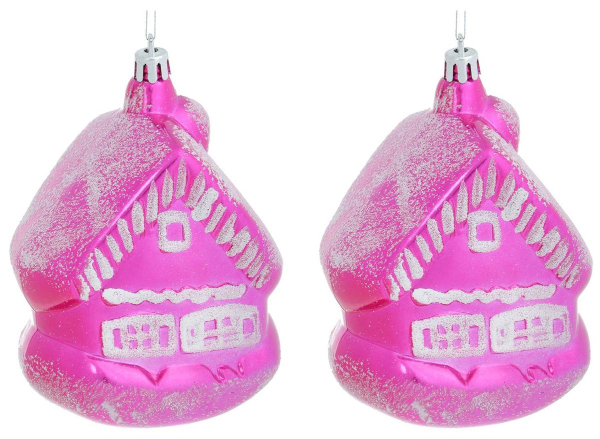 Новогоднее подвесное украшение Sima-land Домик, цвет: розовый, 11 х 8 см, 2 шт1307104Новогоднее украшение Sima-land отлично подойдет для декорации вашего дома и новогодней ели. Елочная игрушка - символ Нового года. Она несет в себе волшебство и красоту праздника. Такое украшение создаст в вашем доме атмосферу праздника, веселья и радости.