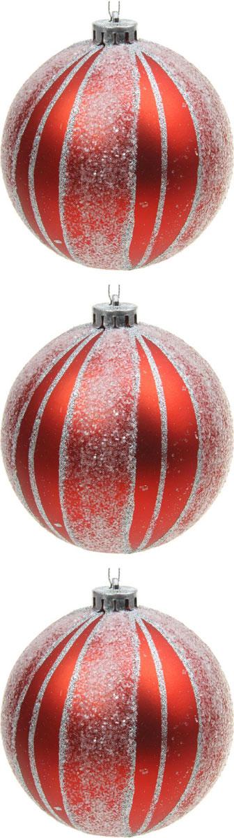 Набор новогодних подвесных украшений Sima-land Красный иней, диаметр 12 см, 3 шт кармашки на стену для бани sima land банные мелочи цвет белый 3 шт