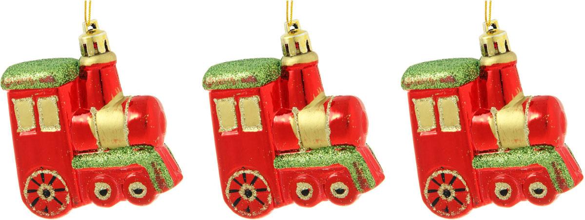 Новогоднее подвесное украшение Sima-land Паровозик, 6,5 х 6,5 см, 3 шт. 13325891332589Новогоднее украшение Sima-land отлично подойдет для декорации вашего дома и новогодней ели. Елочная игрушка - символ Нового года. Она несет в себе волшебство и красоту праздника. Такое украшение создаст в вашем доме атмосферу праздника, веселья и радости.