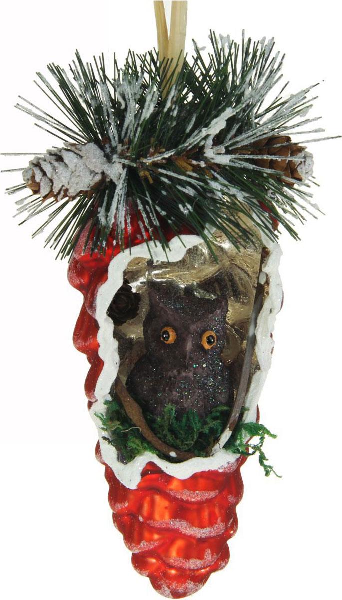 Новогоднее подвесное украшение Sima-land Шишка. Шик, совенок, 13,5 х 6 см1346664Новогоднее украшение Sima-land отлично подойдет для декорации вашего дома и новогодней ели. Елочная игрушка - символ Нового года. Она несет в себе волшебство и красоту праздника. Такое украшение создаст в вашем доме атмосферу праздника, веселья и радости.