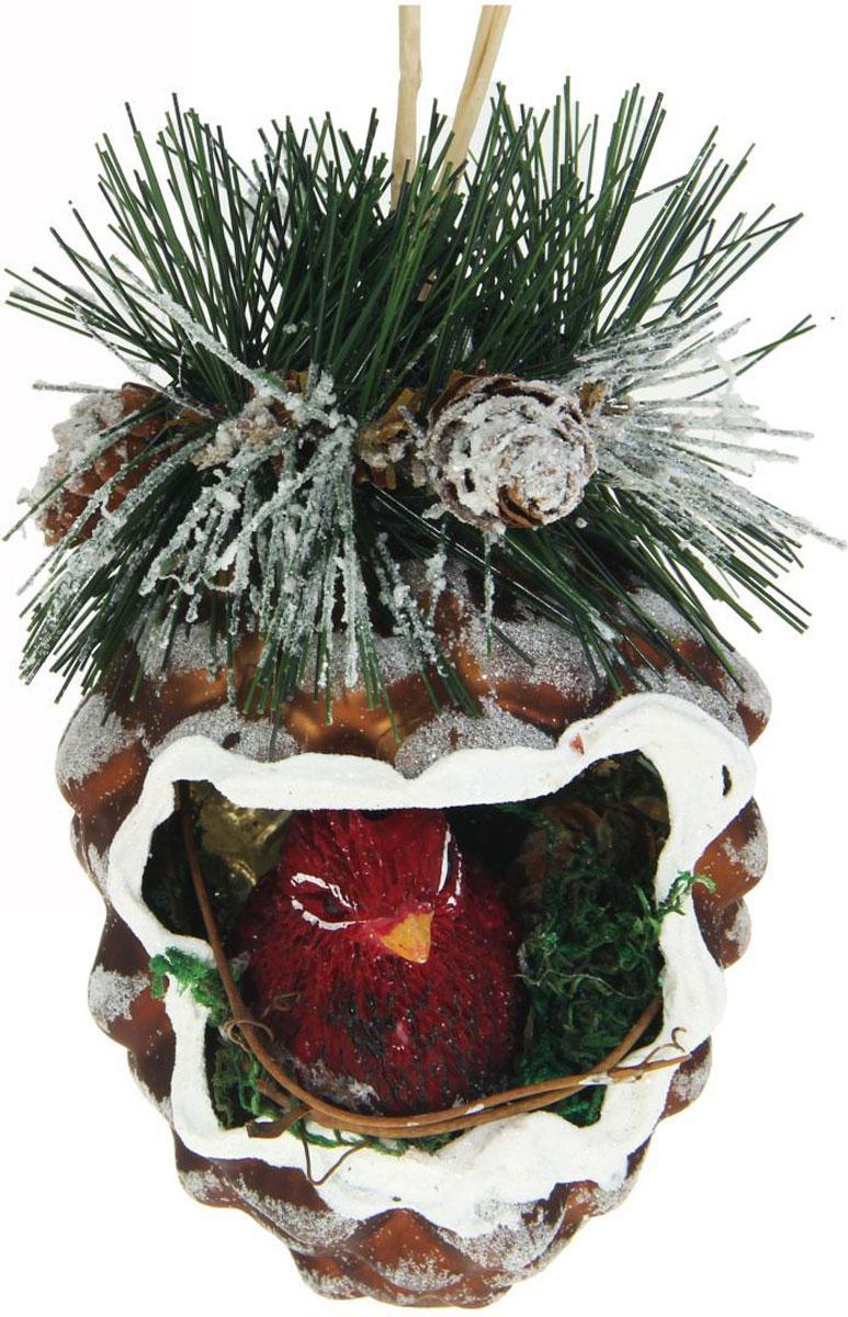 Новогоднее подвесное украшение Sima-land Шишка. Шик, птичка, 10,5 х 8 см1346665Новогоднее украшение Sima-land отлично подойдет для декорации вашего дома и новогодней ели. Елочная игрушка - символ Нового года. Она несет в себе волшебство и красоту праздника. Такое украшение создаст в вашем доме атмосферу праздника, веселья и радости.