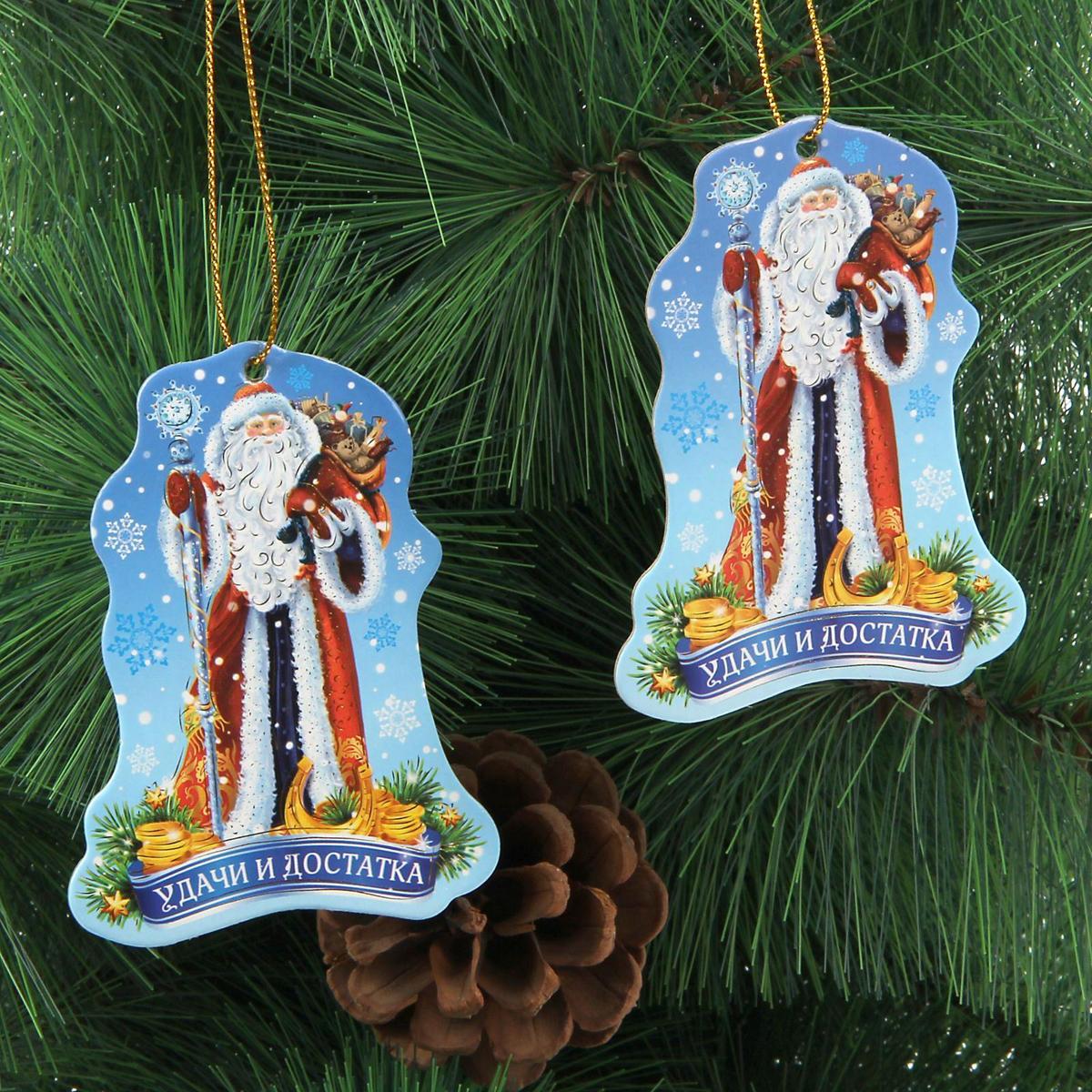 Новогоднее подвесное украшение Sima-land Удачи и достатка, 6,5 х 9 см, 2 шт1353876Новогоднее украшение Sima-land отлично подойдет для декорации вашего дома и новогодней ели.Елочная игрушка - символ Нового года. Она несет в себе волшебство и красоту праздника. Такое украшение создаст в вашем доме атмосферу праздника, веселья и радости.