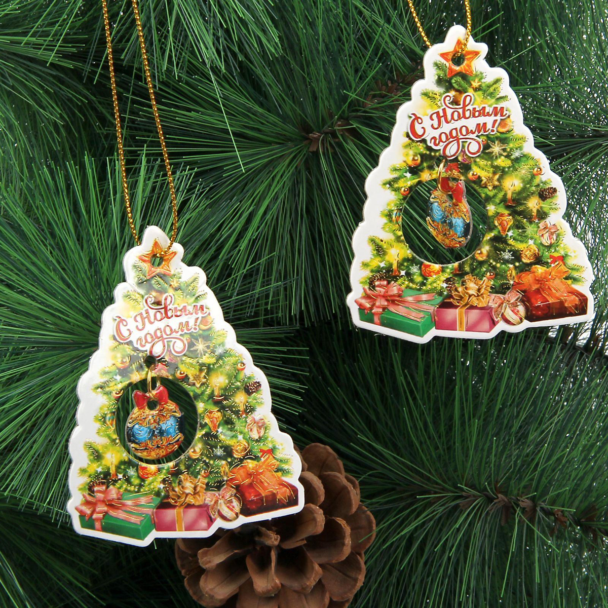 Новогоднее подвесное украшение Sima-land С Новым годом, 8,5 х 6,5 см, 2 шт1353879Новогоднее украшение Sima-land отлично подойдет для декорации вашего дома и новогодней ели.Елочная игрушка - символ Нового года. Она несет в себе волшебство и красоту праздника. Такое украшение создаст в вашем доме атмосферу праздника, веселья и радости.