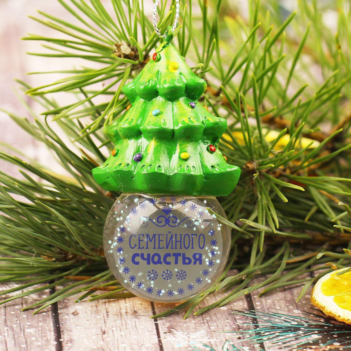 Новогоднее подвесное украшение Sima-land Семейного счастья, светящееся, 6,3 см новогоднее подвесное украшение sima land удачи в новом году светящееся 6 3 см