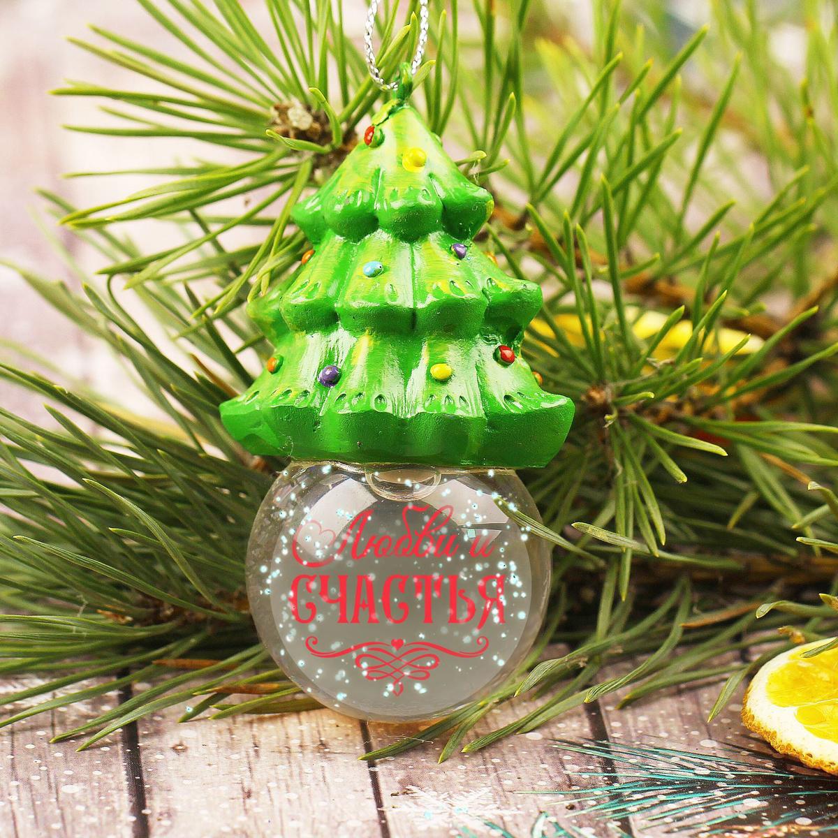 Новогоднее подвесное украшение Sima-land Любви и счастья, светящееся, 6,3 см новогоднее подвесное украшение sima land варежки гжель