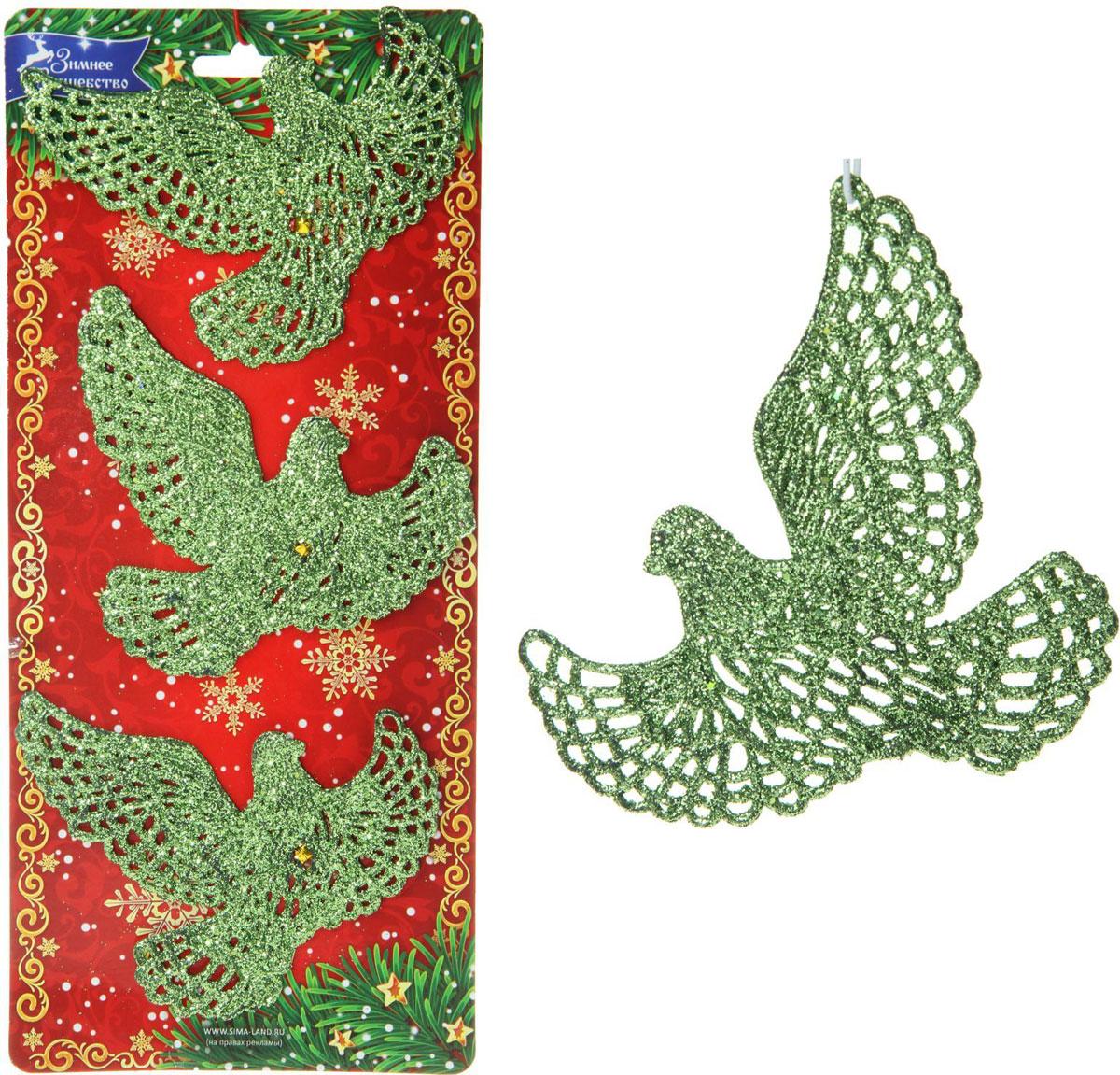 Новогоднее подвесное украшение Sima-land Птицы, 11 х 7,5 см, 3 шт кармашки на стену для бани sima land банные мелочи цвет белый 3 шт