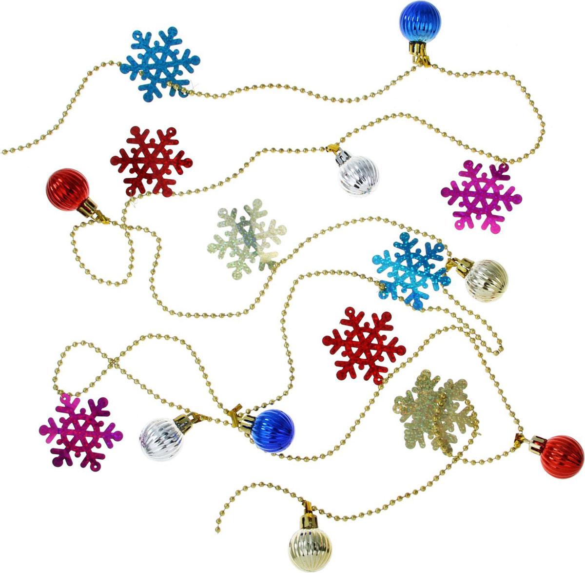 Бусы на елку Sima-land Снежинки и шарики, 2 м1399826Новогодние бусы Sima-land отлично подойдут для декорации вашего дома и новогодней ели. Бусы на елку создадут в вашем доме атмосферу праздника, веселья и радости.