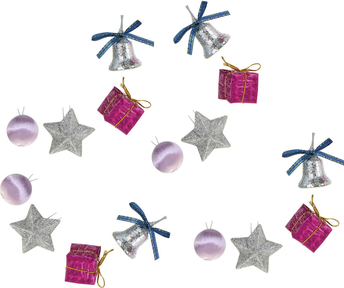 Новогоднее подвесное украшение Sima-land Звездочки и колокольчики, 15 шт1400076Новогоднее украшение Sima-land отлично подойдет для декорации вашего дома и новогодней ели. Елочная игрушка - символ Нового года. Она несет в себе волшебство и красоту праздника. Такое украшение создаст в вашем доме атмосферу праздника, веселья и радости.