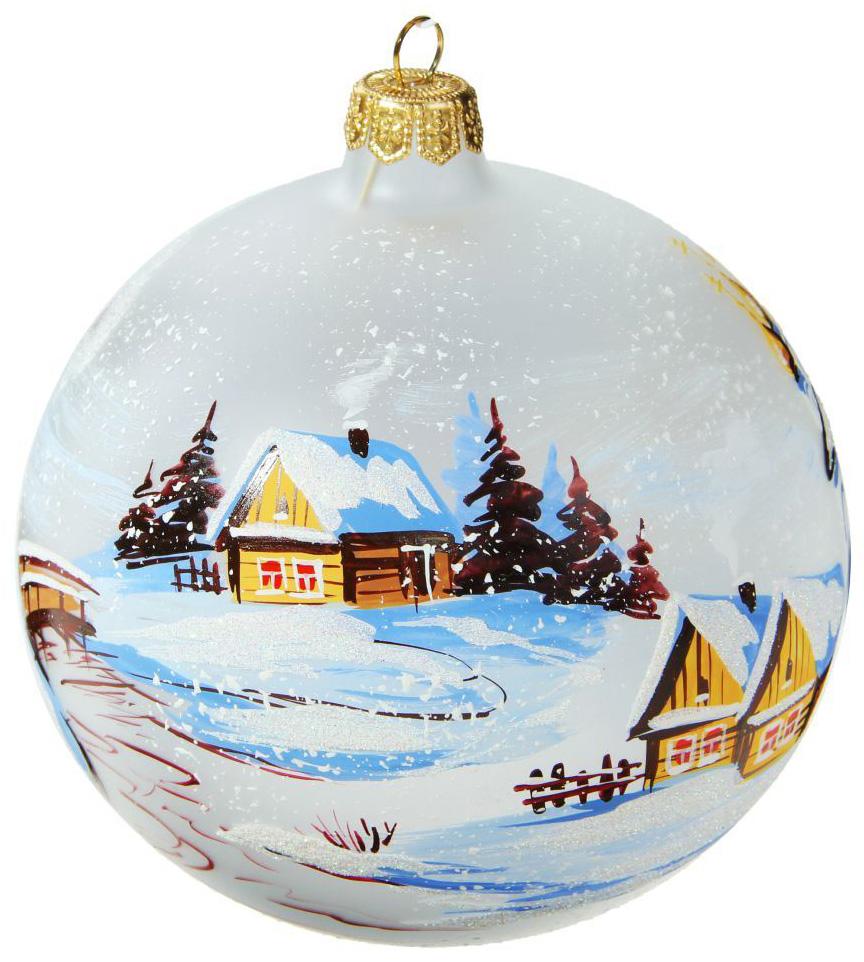 Новогоднее подвесное украшение Ариель Пейзаж русской зимы, диаметр 12 см1653678Новогоднее подвесное украшение Ариель отлично подойдет для декорации вашего дома и новогодней ели. Новогоднее украшение можно повесить в любом понравившемся вам месте. Но, конечно, удачнее всего оно будет смотреться на праздничной елке.Елочная игрушка - символ Нового года. Она несет в себе волшебство и красоту праздника. Такое украшение создаст в вашем доме атмосферу праздника, веселья и радости.