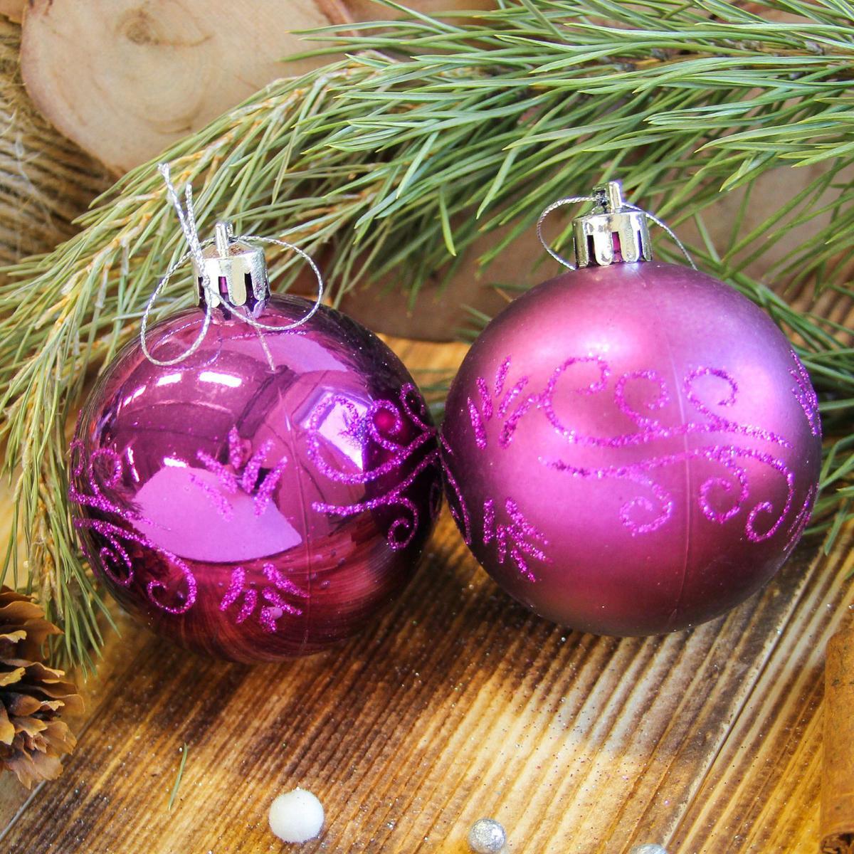 Набор новогодних подвесных украшений Sima-land Цветущая ветвь, цвет: фиолетовый, диаметр 6 см, 8 шт2122529Набор новогодних подвесных украшений Sima-land отлично подойдет для декорации вашего дома и новогодней ели. С помощью специальной петельки украшение можно повесить в любом понравившемся вам месте. Но, конечно, удачнее всего оно будет смотреться на праздничной елке. Елочная игрушка - символ Нового года. Она несет в себе волшебство и красоту праздника. Создайте в своем доме атмосферу веселья и радости, украшая новогоднюю елку нарядными игрушками, которые будут из года в год накапливать теплоту воспоминаний.