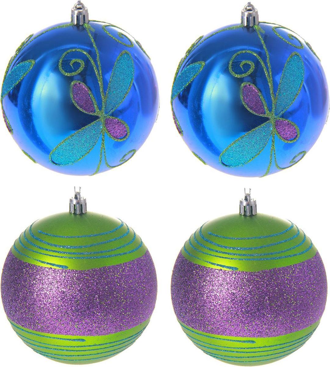 Набор новогодних подвесных украшений Sima-land Сине-зеленое ассорти, диаметр 10 см, 4 шт2122869Набор новогодних подвесных украшений Sima-land отлично подойдет для декорации вашего дома и новогодней ели. С помощью специальной петельки украшение можно повесить в любом понравившемся вам месте. Но, конечно, удачнее всего оно будет смотреться на праздничной елке. Елочная игрушка - символ Нового года. Она несет в себе волшебство и красоту праздника. Создайте в своем доме атмосферу веселья и радости, украшая новогоднюю елку нарядными игрушками, которые будут из года в год накапливать теплоту воспоминаний.