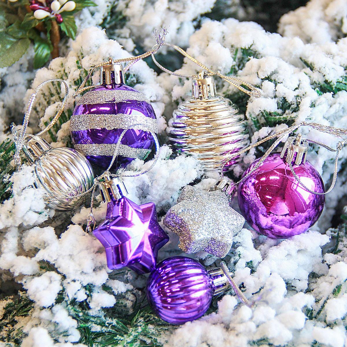 Набор новогодних подвесных украшений Sima-land Серпантин, цвет: фиолетовый, 21 шт2122891Набор новогодних подвесных украшений Sima-land отлично подойдет для декорации вашего дома и новогодней ели. С помощью специальной петельки украшение можно повесить в любом понравившемся вам месте. Но, конечно, удачнее всего оно будет смотреться на праздничной елке. Елочная игрушка - символ Нового года. Она несет в себе волшебство и красоту праздника. Создайте в своем доме атмосферу веселья и радости, украшая новогоднюю елку нарядными игрушками, которые будут из года в год накапливать теплоту воспоминаний.