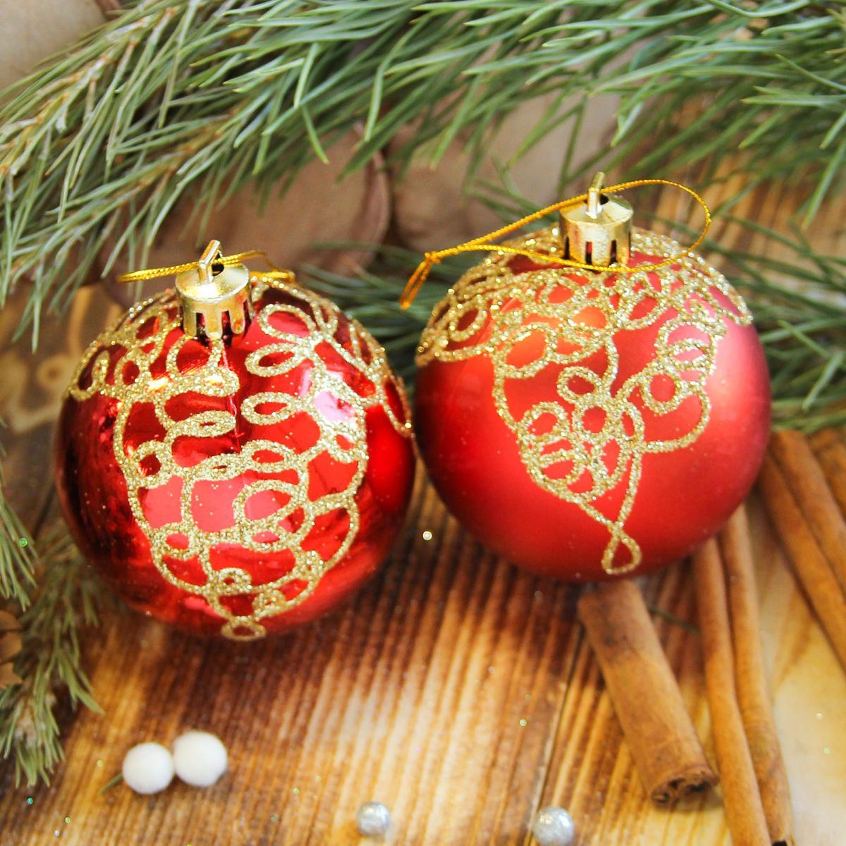 Набор новогодних подвесных украшений Sima-land Кружева, цвет: красный, диаметр 6 см, 8 шт2122929Набор новогодних подвесных украшений Sima-land отлично подойдет для декорации вашего дома и новогодней ели. С помощью специальной петельки украшение можно повесить в любом понравившемся вам месте. Но, конечно, удачнее всего оно будет смотреться на праздничной елке. Елочная игрушка - символ Нового года. Она несет в себе волшебство и красоту праздника. Создайте в своем доме атмосферу веселья и радости, украшая новогоднюю елку нарядными игрушками, которые будут из года в год накапливать теплоту воспоминаний.