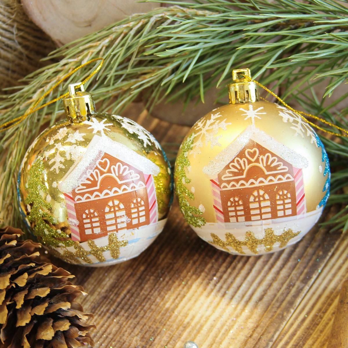 Набор новогодних подвесных украшений Sima-land Домик, цвет: желтый, диаметр 6 см, 8 шт2122956Набор новогодних подвесных украшений Sima-land отлично подойдет для декорации вашего дома и новогодней ели. С помощью специальной петельки украшение можно повесить в любом понравившемся вам месте. Но, конечно, удачнее всего оно будет смотреться на праздничной елке. Елочная игрушка - символ Нового года. Она несет в себе волшебство и красоту праздника. Создайте в своем доме атмосферу веселья и радости, украшая новогоднюю елку нарядными игрушками, которые будут из года в год накапливать теплоту воспоминаний.