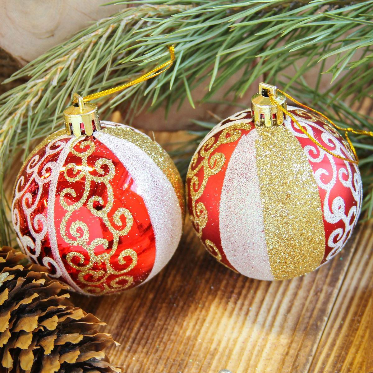 Набор новогодних подвесных украшений Sima-land Новогодние кружева, цвет: красный, диаметр 6 см, 8 шт свеча ароматизированная sima land лимон на подставке высота 6 см