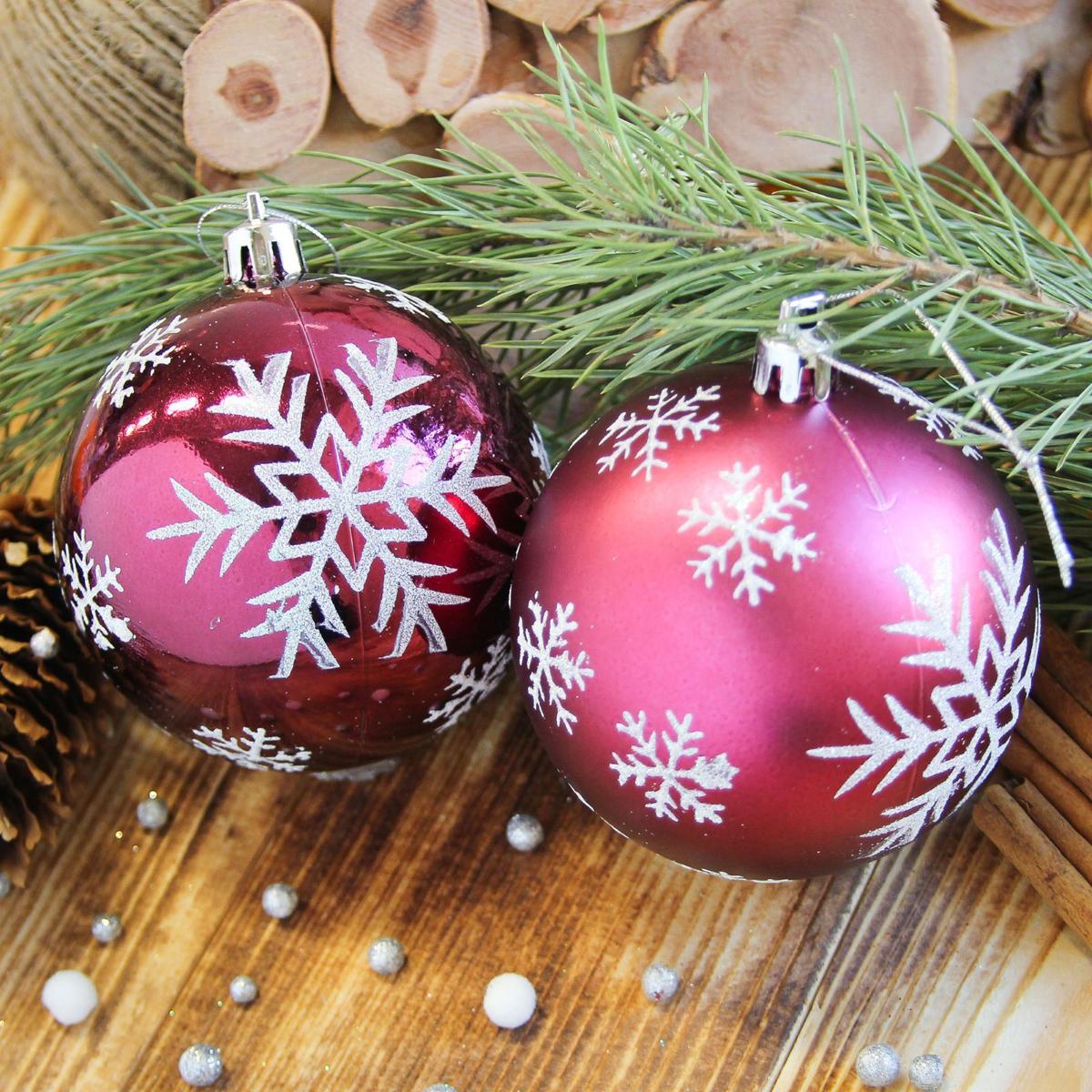 Набор новогодних подвесных украшений Sima-land Снегопад, цвет: бордовый, диаметр 8 см, 6 шт2122966Невозможно представить нашу жизнь без праздников! Мы всегда ждём их и предвкушаем, обдумываем, как проведём памятный день, тщательно выбираем подарки и аксессуары, ведь именно они создают и поддерживают торжественный настрой.