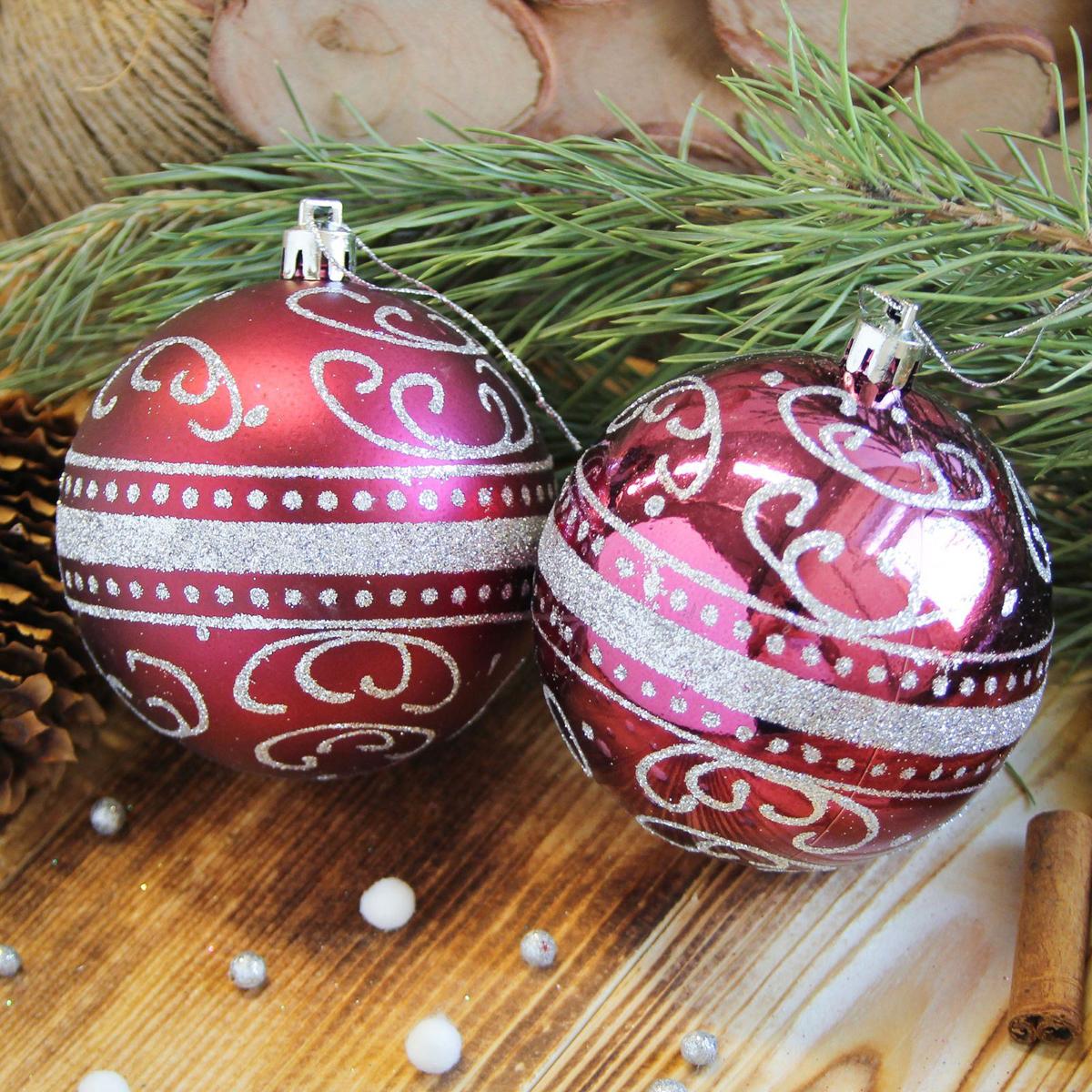 Набор новогодних подвесных украшений Sima-land Метель, цвет: бордовый, диаметр 8 см, 6 шт2122983Набор новогодних подвесных украшений Sima-land отлично подойдет для декорации вашего дома и новогодней ели. С помощью специальной петельки украшение можно повесить в любом понравившемся вам месте. Но, конечно, удачнее всего оно будет смотреться на праздничной елке. Елочная игрушка - символ Нового года. Она несет в себе волшебство и красоту праздника. Создайте в своем доме атмосферу веселья и радости, украшая новогоднюю елку нарядными игрушками, которые будут из года в год накапливать теплоту воспоминаний.