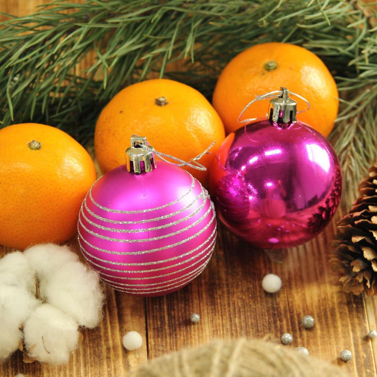 Набор новогодних подвесных украшений Sima-land Элит, цвет: бордовый, диаметр 6 см, 12 шт свеча ароматизированная sima land лимон на подставке высота 6 см