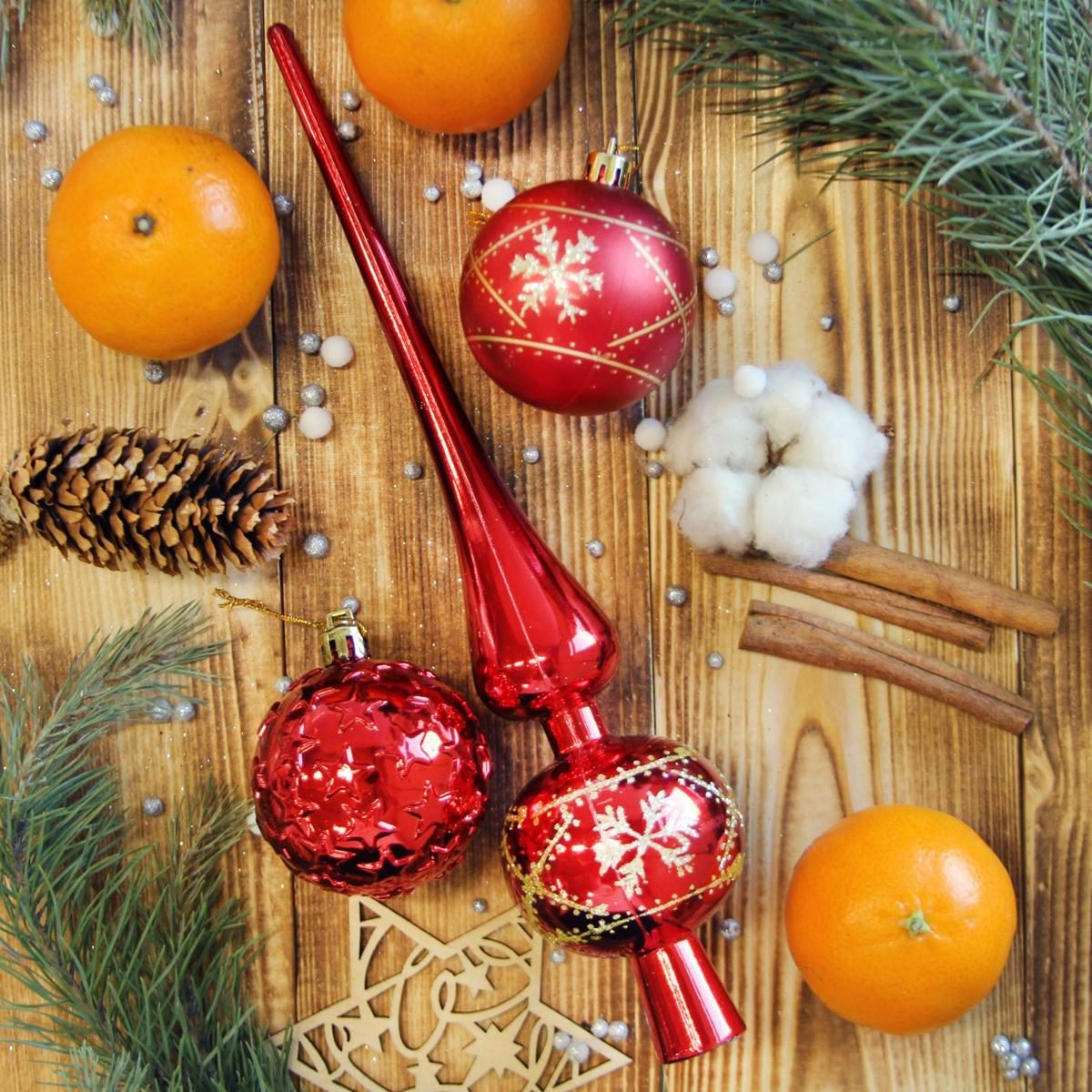 Набор новогодних подвесных украшений, с макушкой, 19 шт. 21230152123015Невозможно представить нашу жизнь без праздников! Мы всегда ждём их и предвкушаем, обдумываем, как проведём памятный день, тщательно выбираем подарки и аксессуары, ведь именно они создают и поддерживают торжественный настрой.