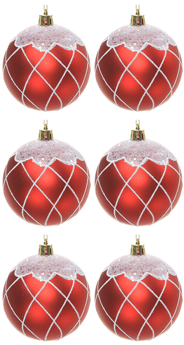 Набор новогодних подвесных украшений Sima-land Гранд. Сеточка, диаметр 8 см, 6 шт. 2131405 свеча ароматизированная sima land лимон на подставке высота 6 см