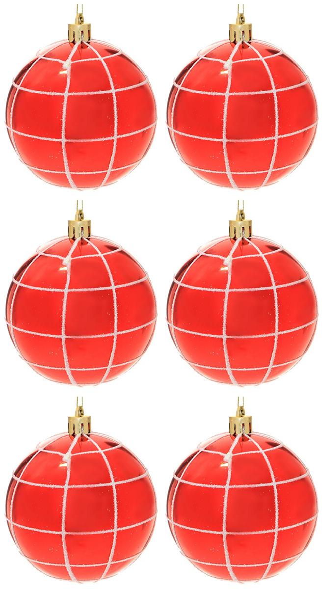 Набор новогодних подвесных украшений Sima-land Гранд. Сеточка, диаметр 8 см, 6 шт. 2131406 свеча ароматизированная sima land лимон на подставке высота 6 см